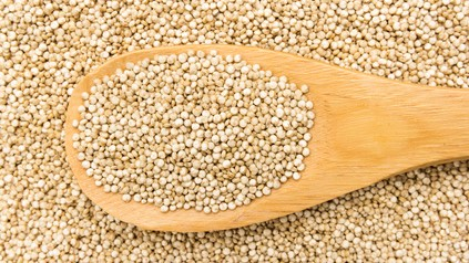 Golden Quinoa seed. Grains in wooden spoon. Close up.