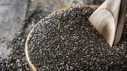 Chia seeds in a bowl on wooden table